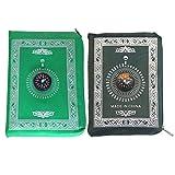 Milisten 2 Stück Gebetsteppich Kompass Tragbare Gebetsteppichmatte Polyester Muslime Teppiche Kirchenhalle Gebetsteppich Camping Schlafzimmer Pilgerdecke 60X100cm Zufällige Farbe