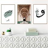 zszy Allah islamische Leinwand Poster Moschee Architektur muslimische Wandkunst Drucke nordische dekorative Malerei Home Decor-40x50cmx3 Stück kein Rahmen